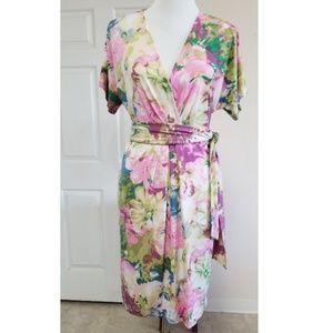 🆕️BCBGMAXAZRIA Pink Floral Watercolor Wrap Dress